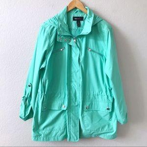 NEW STYLE & CO Sport Green Utility Zip Jacket L